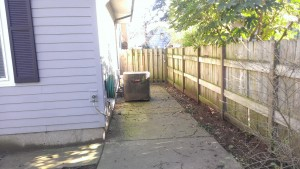 Before photo of side yard - Before dog-run & living wall