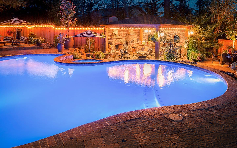Blue Swimming Pool in Landscape