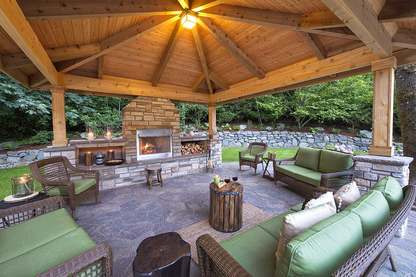Grand outdoor living room with house matching comfort