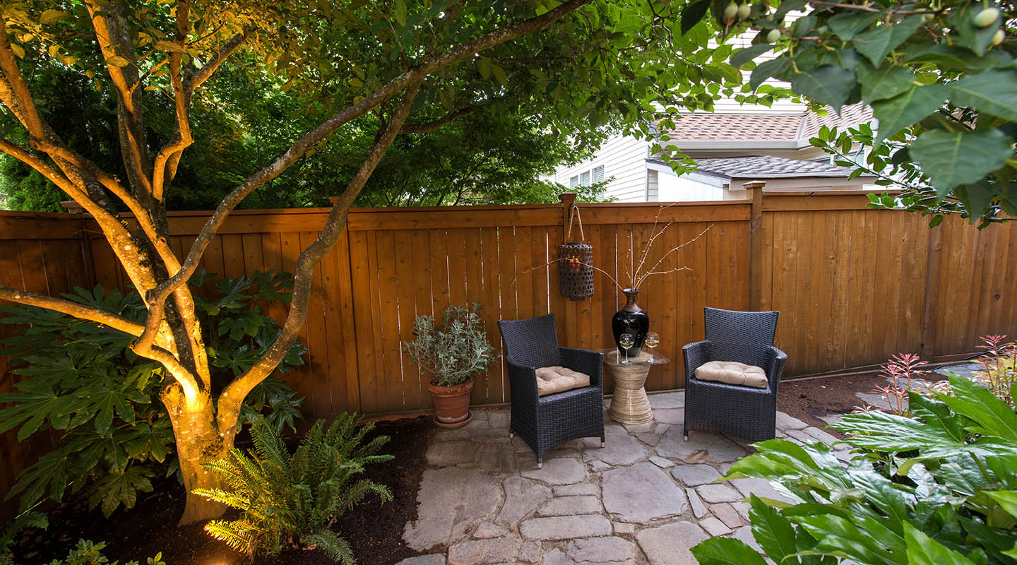 Slate patio retreat for two!