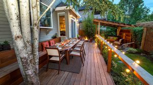 Tree grows through deck and shades dining area