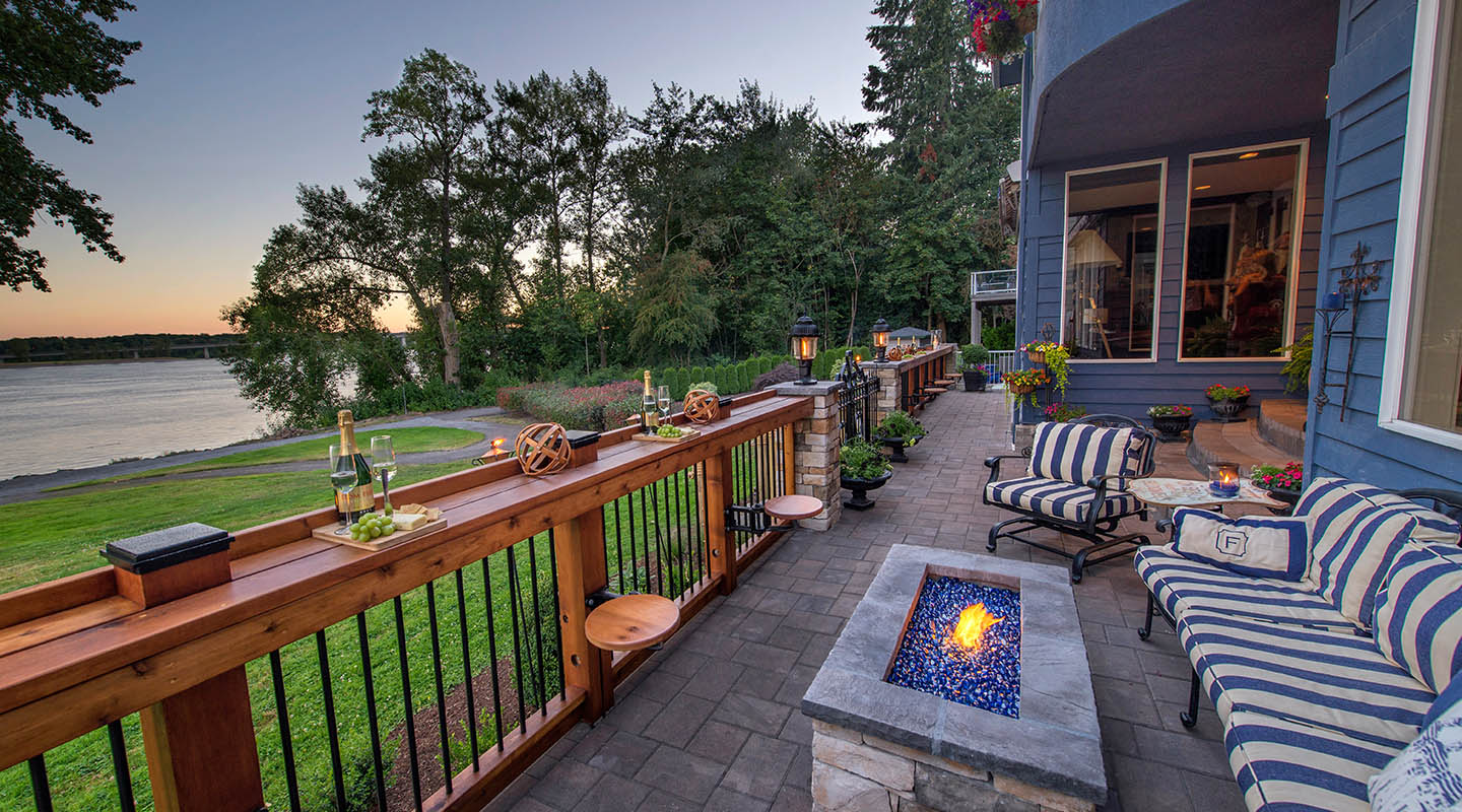 Firepit and swing-out galley stools