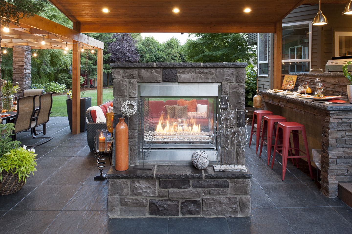 Two sided Fireplace wall