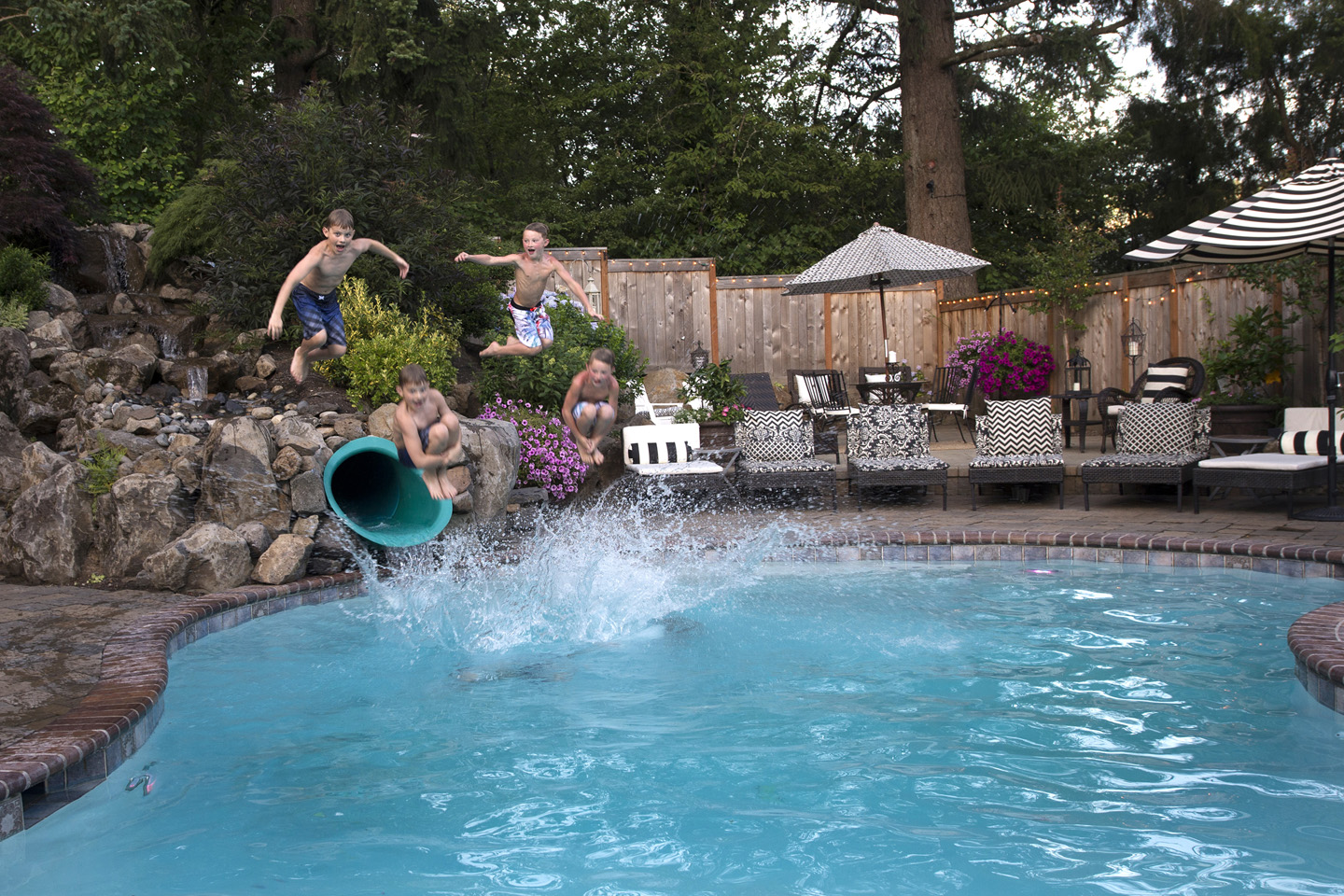 Pools are full of family fun - nestled close to outdoor living rooms they can also boast hot tubs