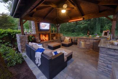 Cozy outdoor living room with infrared heat lamps