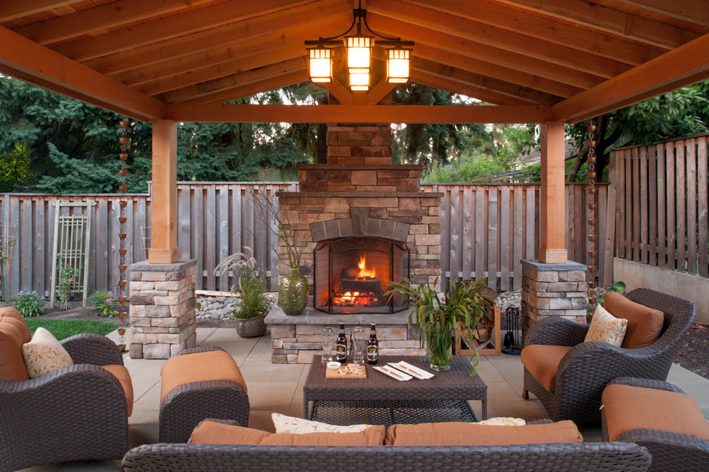 20 gazebos in outdoor living spaces paradise restored - Outdoor living spaces with fireplace ...