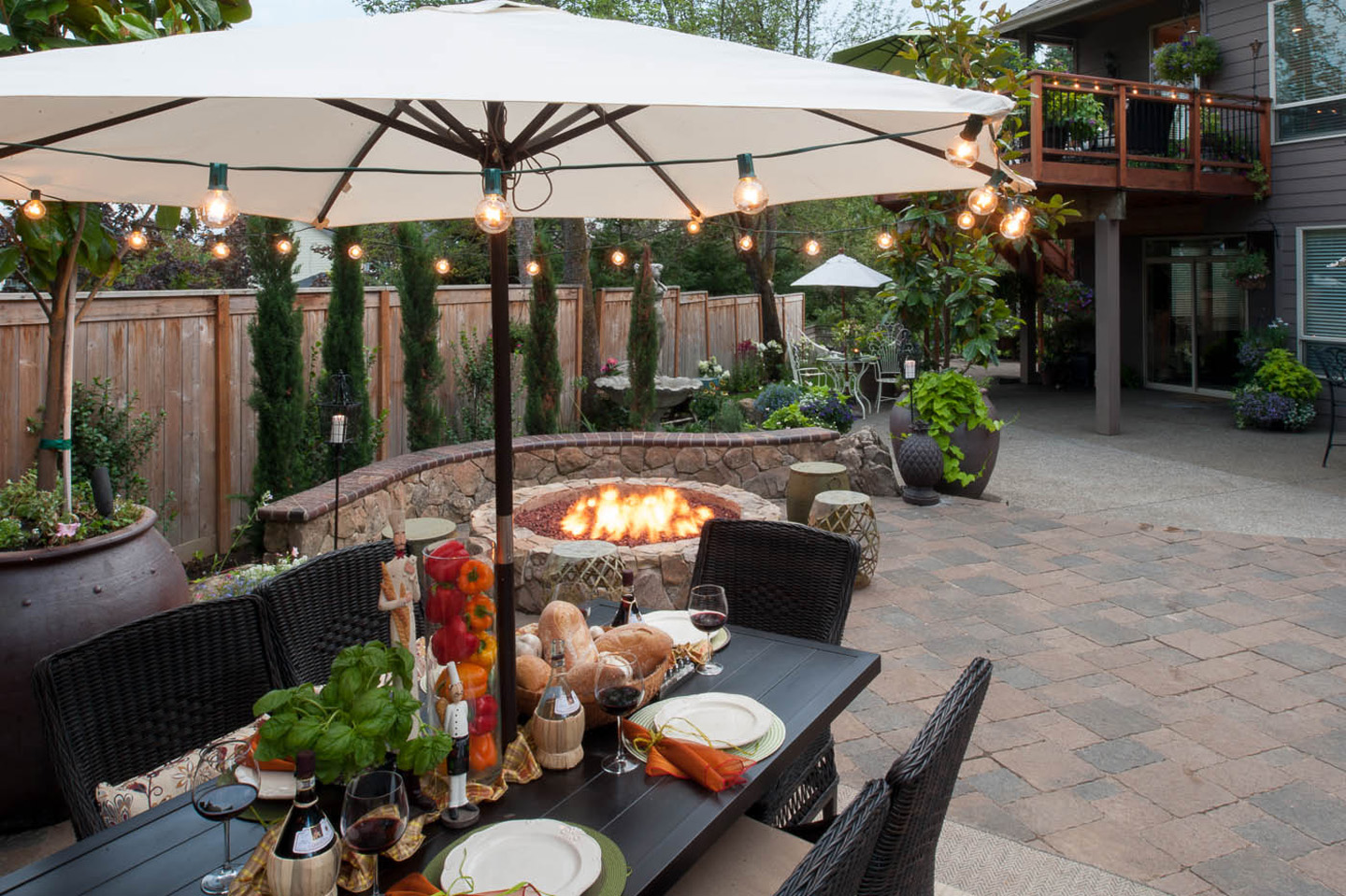 Traditional Style - table near firepit for heat & ambiance in the Evening