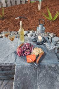 Relax by the firepit - Wine and Cheese plate with Lantern light