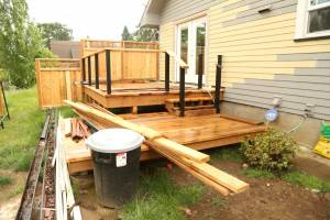 Deck and railing under construction