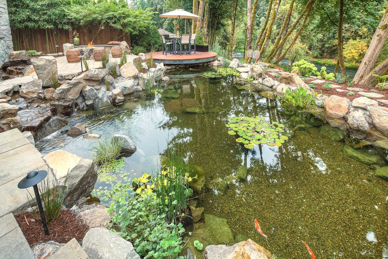 koi pond in landscape